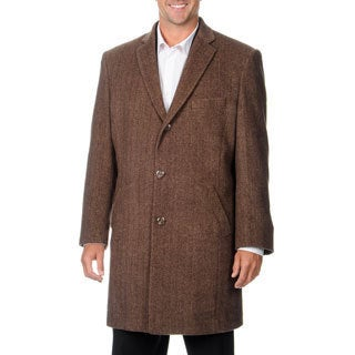 Pronto Moda Men's 'Ram' Light Brown Herringbone Cashmere Blend Top Coat