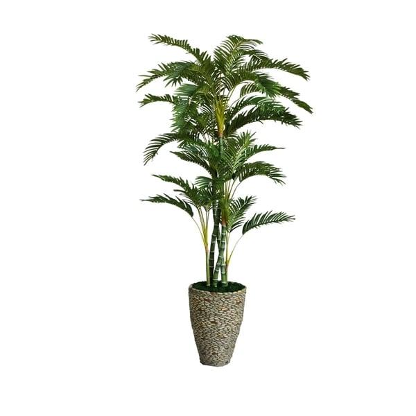Laura Ashley 86-inch Tall Palm Tree in Fiberstone Planter