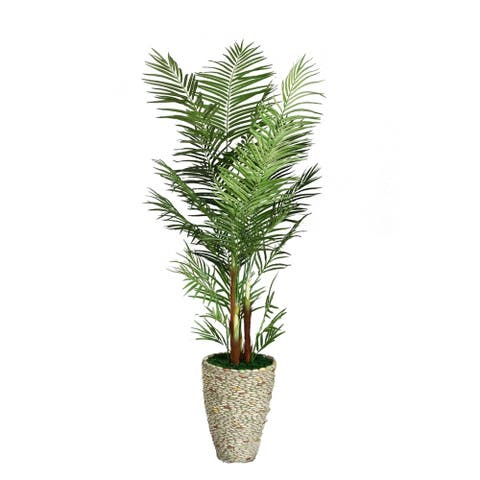Vintage Home 82-inch Tall Palm Tree in Fiberstone Planter - 81.5""