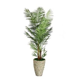 Laura Ashley 82-inch Tall Palm Tree in Fiberstone Planter