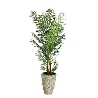 Laura Ashley 82-inch Tall Palm Tree in Fiberstone Planter