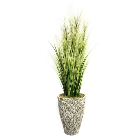 """Vintage Home 74-inch Tall Onion Grass with Twigs in Fiberstone Planter - 73.5"""""""