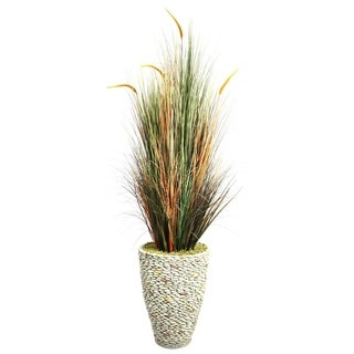 Laura Ashley 74-inch Tall Onion Grass with Cattails in 16-inch Fiberstone Planter