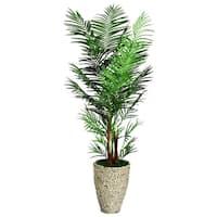 Laura Ashley 90-inch Tall Areca Palm Tree in 16-inch Fiberstone Planter