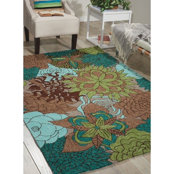 2f15138a2ac1fe Shop Nourison South Beach Aqua Brown Rug - 5 3