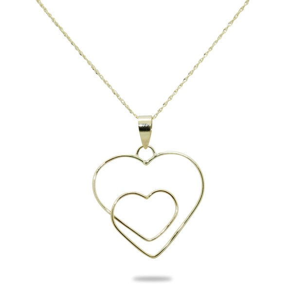 Gioelli 14k Yellow Gold Open Heart to Heart Necklace