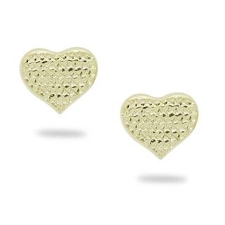 Gioelli 14k Yellow Gold Diamond-cut Heart Stud Earrings