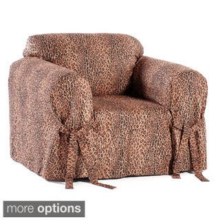 Microsuede Animal Print Chair Slipcover