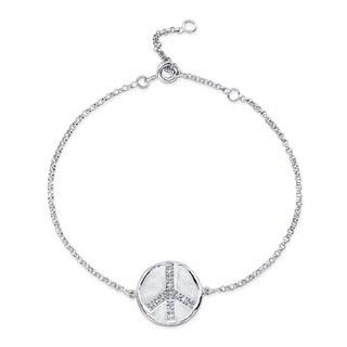 Sterling Silver Diamond Accent Peace Disc Bracelet