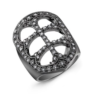 Victoria Kay Black-plated Sterling Silver 1/3ct TDW Diamond Fashion Ring (J-K, I2-I3)