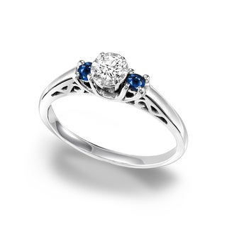 Cambridge Sterling Silver 1/3ct TDW Diamond and Sapphire Ring