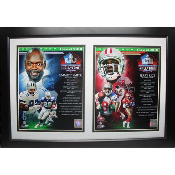 2010 Hall of Fame Emmitt Smith and Jerry Rice 12X18 Deluxe Frame