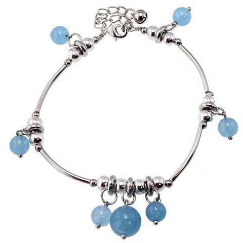 Handmade Miao Silver Blue Chalcedony Anklet (China)