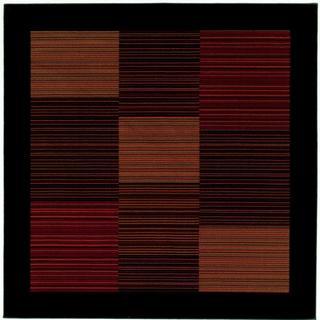 Power-Loomed Delta Nantucket Multi-Stripe Ultra-Fine Polypropylene Rug (5'3 Square)