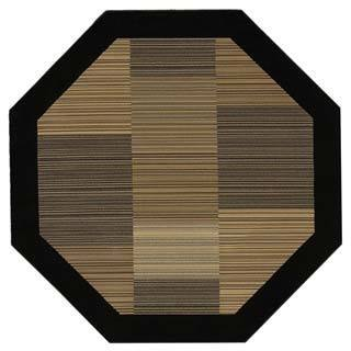 "Everest Hamptons/Multi Stripe-Black 3'11"" Octagon Rug"