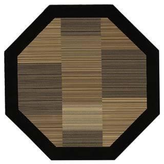Everest Hamptons Multi Stripe Black Octagon Area Rug 3 11 X