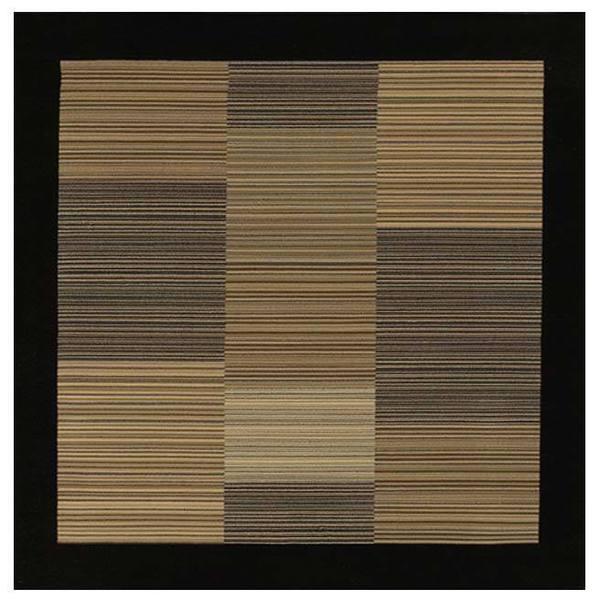 """Everest Hamptons/Multi Stripe-Black Square Rug - 3'11"""" square"""