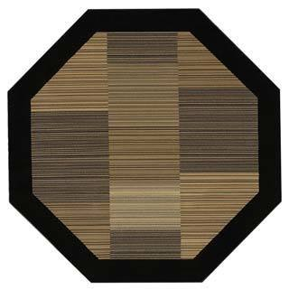 "Everest Hamptons/Multi Stripe-Black 5'3"" Octagon Rug"