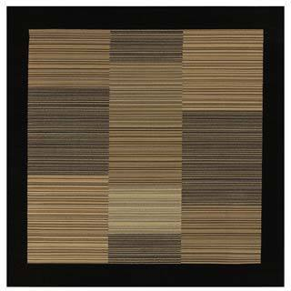 Power-Loomed Couristan Everest Hamptons/ Multi Stripe-Black, Polypropylene Rug (5'3 x 5'3)