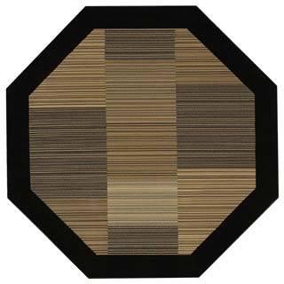 "Everest Hamptons/Multi Stripe-Black 7'10"" Octagon Rug"