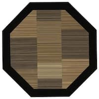 Everest Hamptons/Multi Stripe-Black Octagon Rug - 7'10 x 7'10