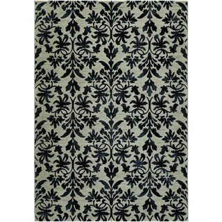 Couristan Everest Retro Damask/Grey-Black Area Rug - 5'3 x 7'6