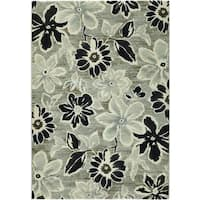 "Everest Wild Daisy/Grey-Black-White Area Rug - 7'10"" x 11'2"""