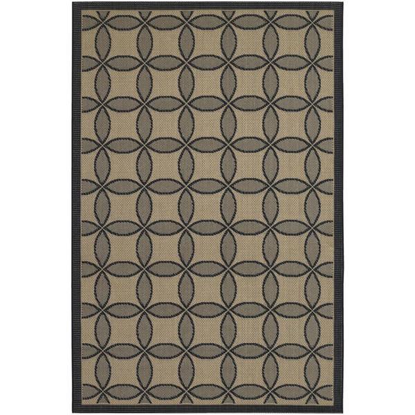 Five Seasons Black and Cream Retro Clover Rug (9'2 x 12')