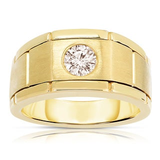 Eloquence 10k Yellow Gold 1/2ct TWD Men's Bezel-set Diamond Ring (SI1-SI2)
