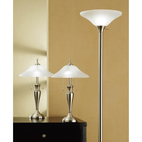 Artiva USA 3-piece 71-inch Torchiere and 24-inch Table Lamps with a Brushed Steel Finish and Quality Hammered Glass Shades