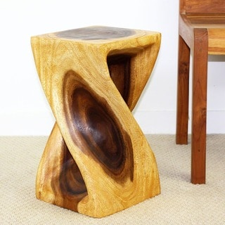 Handmade 10 x 18 Twist Oak Oiled Stool (Thailand)