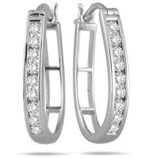 Marquee Jewels 10k White Gold 1/2ct TDW Round Diamond Hoop Earrings