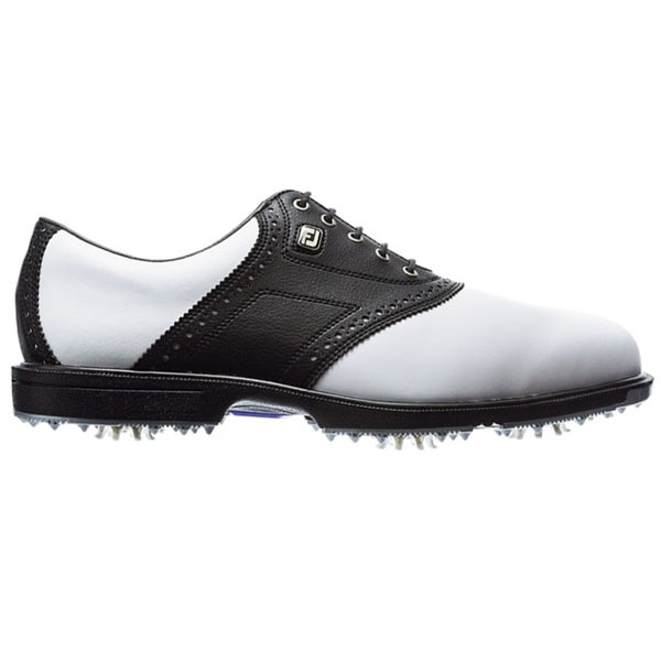 footjoy s superlite black and white saddle golf shoes