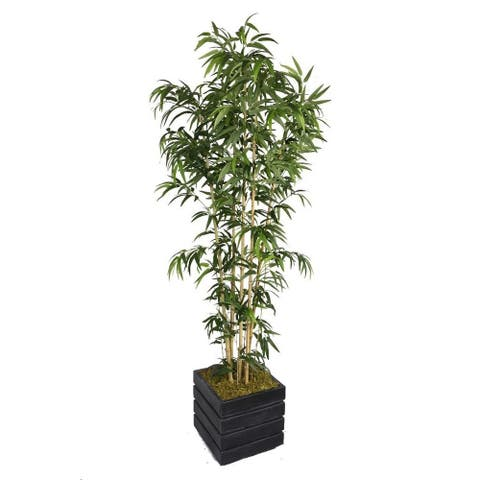 78-inch Tall Natural Bamboo Tree and 14-inch Fiberstone Planter - 78""