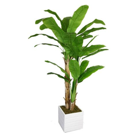 """78-inch Tall Banana Tree with Real Touch Leaves in Fiberstone Planter - 78"""""""