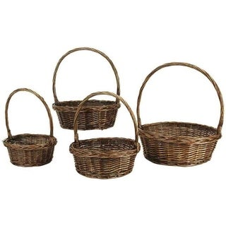 Wald Imports Dark Brown Willow Baskets (Set of 4)