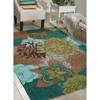 Nourison South Beach Aqua Brown Rug - 5' x 7'6