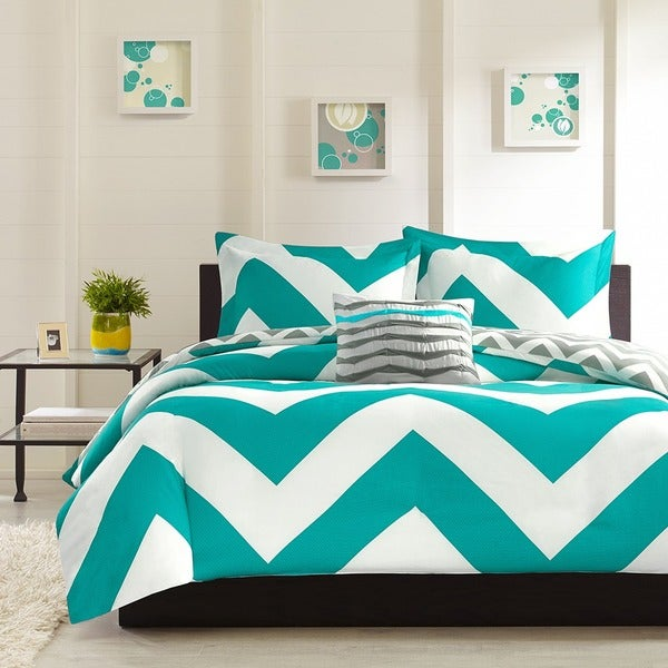 Mi Zone Aries Reversible Blue Duvet Cover Set