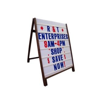 Wood Sidewalk A-Frame Sign with Letter Track Message Panels