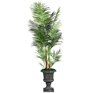 "Laura Ashley 90"" Tall Areca Palm Tree in 16"" Fiberstone Planter"