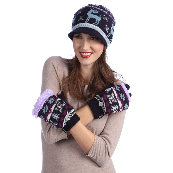 Muk Luks Visor Beanie and Flip Gloves with Fur Lining