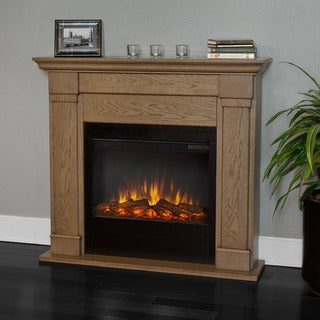 Real Flame Blonde Oak 46 in. L x 9.3 in. D x 41.1 in. H Lowry Electric Fireplace