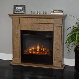 Real Flame Blonde Oak 46 in. L x 9.3 in. D x 41.1 in. H Lowry Electric Fireplace
