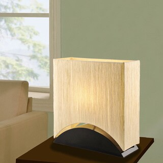 Artiva USA Sakura 17-inch Modern & Space-efficient Premium Shade Table Lamp with Black Lacquer Wood Base