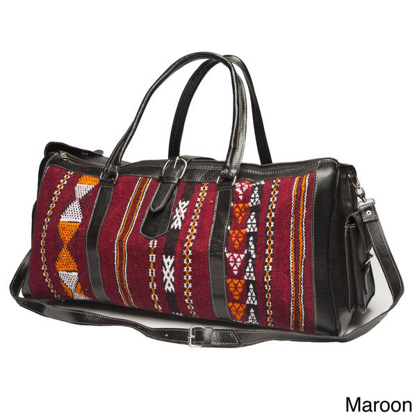 52b1056f08 Shop Handmade Large Leather and Fabric Kilim Duffel Bag (Morocco ...
