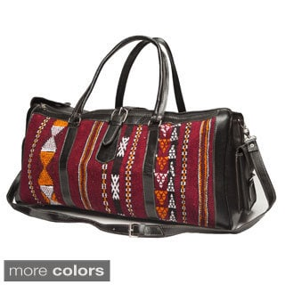 Large Leather and Fabric Kilim Duffel Bag (Morocco)