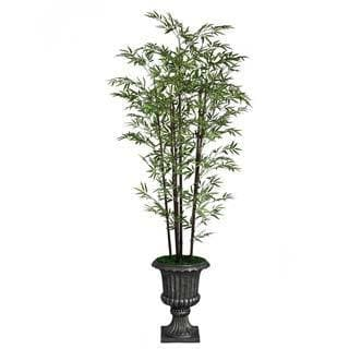 """Laura Ashley 86"""" Tall Banana Tree with Real Touch Leaves in 16"""" Fiberstone Planter"""