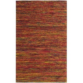 Hand-tufted Loft Multicolored and Red Variegated Stripe Rug (8' x 11')