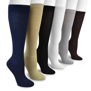 Muk Luks Women's Rayon from Bamboo Under-the-Knee Socks (6 Pairs)