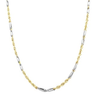 Fremada 10k Two-tone Gold 2.15 mm Hollow Rope Baguette Chain (20-24 inch)